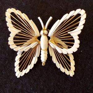 Vintage Monet gold/white butterfly pin